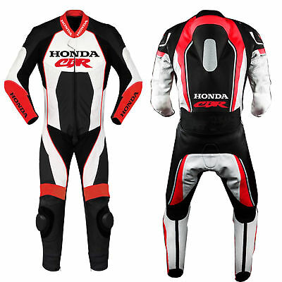 Mens CBR Motorcycle Sports Suits Motorbike Racing Leather Biker Suit CE Armoured