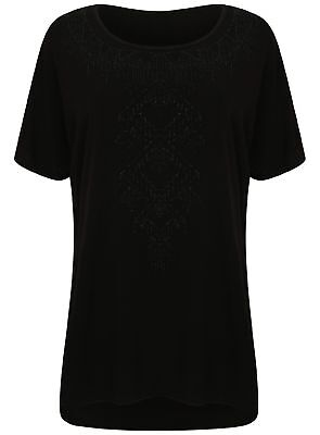 Ladies Plus Size Evans T Shirt Textured Bead Front Large Big Ex Store New Black