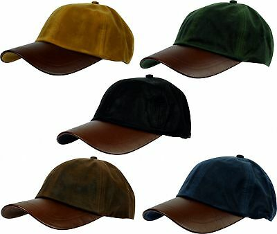 Mens Wax Baseball Cap Leather Peak Fishing Shooting Outdoor Waxed Hat New
