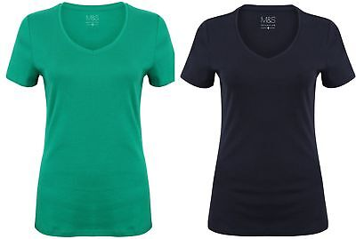 Ladies T Shirt Cotton Ex High Street Tee Womens New V Neck Navy Green Size 8-24