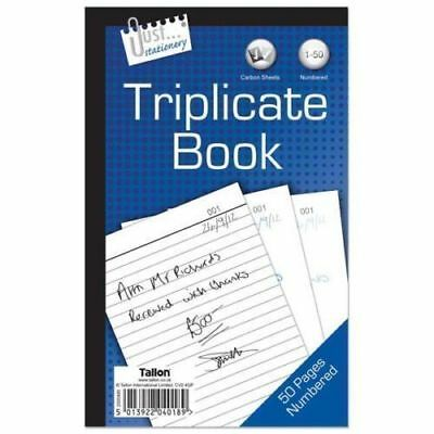 BLANK Full Size Triplicate Duplicate Receipt Book Numbered 1-50 Pad Carbon D35