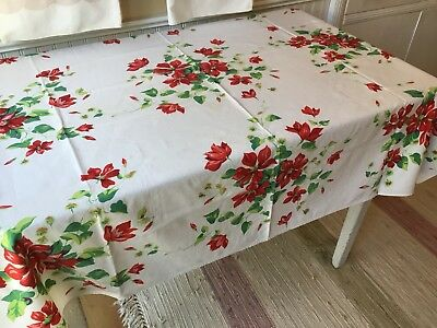 Vintage Wilendur? Heavy Cotton Red Green Floral Tablecloth