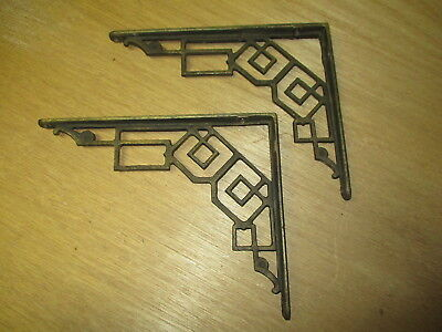 Great antique vintage Art Deco style cast iron wall shelf brackets