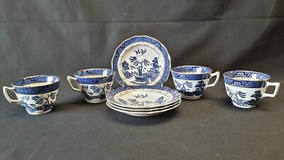 Booths Real Old Willow A8025 Set of 4 Cups & Saucers