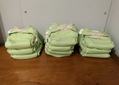 BumGenius Green Velcro Pocket Cloth Diapers Lot Of 10 with Inserts