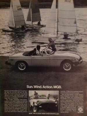 1978 Vintage Print Ad 70's MGB Convertible Sports Car Sailboats Lake