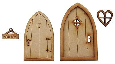 Wooden Fairy Doors Pack of Two Mini Fairy Garden Doors Fairy Window Fairy Sign