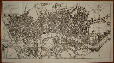 Stampa antica old print pianta Londra Westminister london city plan 1810 anon.