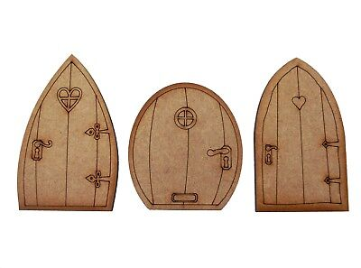 Wooden Fairy Door Triple Pack. 3 x Small Wooden Fairy Doors with engraved detail