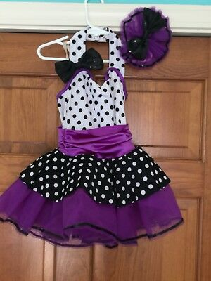 Child Small Dance Costume: Purple/Black polka dots