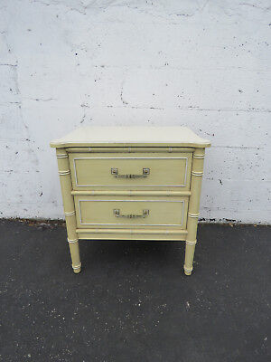 Hollywood Regency Faux Bamboo Nightstand End Table by Henry Link 8658