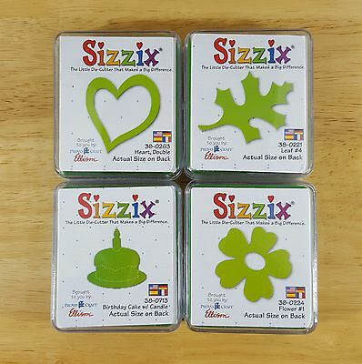 Sizzix Green Die Cutter Lot of 4 Leaf #4 Birthday Cake Double Heart Flower #1