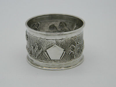 Solid Silver Sterling Repousse Chased Scenic Napkin Ring