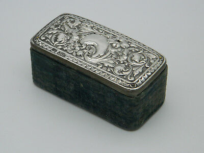 "Edwardian Solid Silver Mounted F J Hall 3¼"" Velvet Ring Box 1905 Birmingham"
