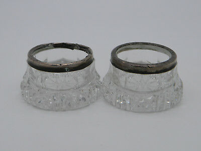Pair of Solid Silver & Cut Glass William H Sparrow Open Salt Cellars 1910 London