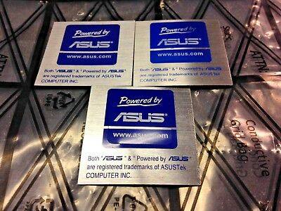 Powered by ASUS Computer Case Sticker Blue Label Logo 20x20mm ASUStek Lot of (3)