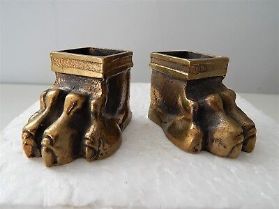 Lot of 2 French Bronze Furniture Feet Lion Paws Lions Empire Style Antique