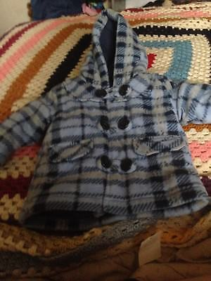 Baby Boys Coat jacket Blue Check 0-3 months NEW With Tag.