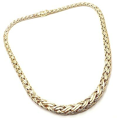 Authentic! Tiffany & Co 14k Yellow Gold Russian Weave Gradual Link Necklace