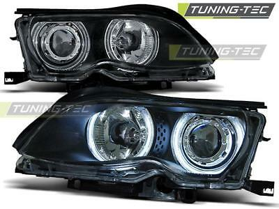 Coppia Fari Anteriori Bmw E46 09.01-03.05 Angel Eyes Black*559