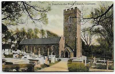 Vintage Postcard.  St.Peter's-in-the-Wood Church, GUERNSEY.  Ref:84388