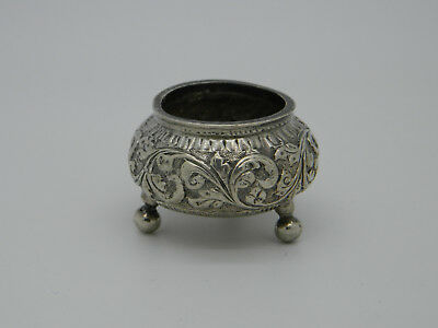 Solid Silver 28.8g Indian Chased Salt Cellar