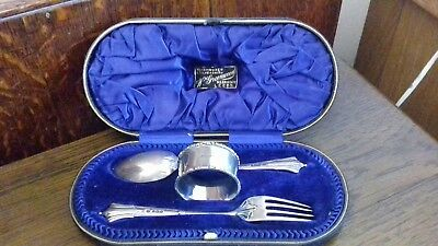 1904 antique sterling silver napkin ring fork & spoon christening set