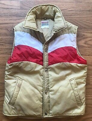 Vintage 70s 80s Sigallo Stripe Vest Jacket Youth L 14-16 Snow White Red Button