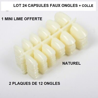 Lot 24 Capsules Tips Faux Ongle Naturel Gel Uv Vernis Colle Lime Ong408