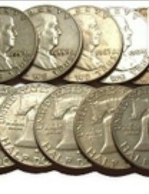 Unsearched Franklin Half Dollar Rolls. Two Rolls. 40 Coins. 1948-1963