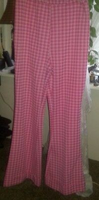 Retro Pants 12/26  Pink Plaid,Double Knit, Cuff ,Classic 70s,Bell Bottom  GUC