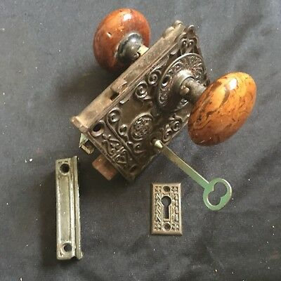Antique CHSVictorian Eastlake Era Decorative  Rim Lock & Skeleton Key #7