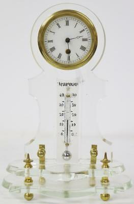 Rare Antique Combination French Cut Glass Keyhole Tic Tac Desk Clock Thermometer
