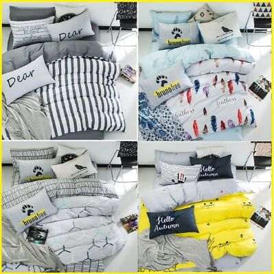 Soft 100%Cotton Duvet Cover Fitted Flat Sheet Bedding Set High Quality 4pcs UPS