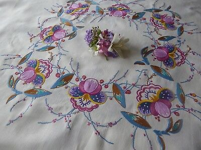 Vintage Hand Embroidered Linen Tablecloth -Delicate Embroidery/art Nouveau Style