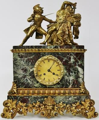 Antique 8 Day French Empire Marble & Bronze Warrior Soldier Figural Mantle Clock