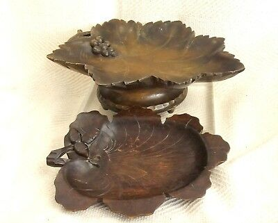 Antique German Black Forest Hand Carved Bowls Musical Black Forest Fruit Bowl