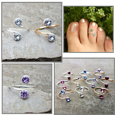 Streling Silver 14k Gold Filled Wire Toe Midi Ring made with Swarovski crystals