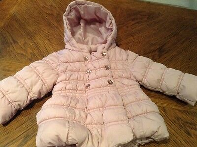 Girls Pink Quilted Jacket - Age 6 - 9 Months