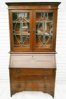 Beautiful Antique Walnut Writing Bureau Bookcase with Stained Glass Doors