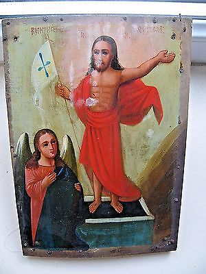 "Antique 19c Russian Orthodox Hand Painted Wood Icon ""The resurrection of Christ"""