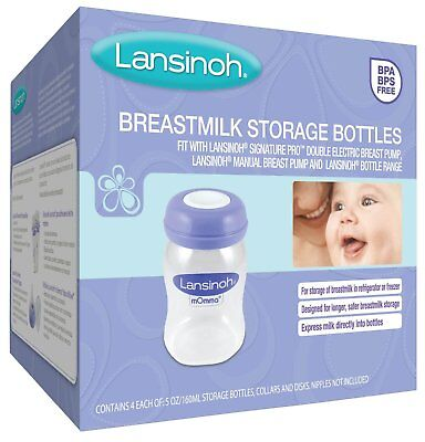 Lansinoh Breastmilk Storage Bottles, 4 Count (5 Ounce each), BPA and BPS Free