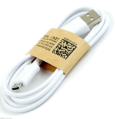 Genuine USB 2.0  to Micro Data & Charging Cable Lead White Fast Samsung Charger