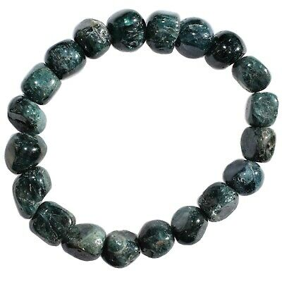 Premium CHARGED Natural Blue Green Apatite Crystal Nugget Stretchy Bracelet