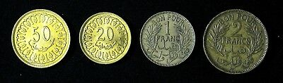 Lot of 4 Tunisia 20, 50 Milliemes, 1, 2 Francs 1945 1960 1364 1380 better grades