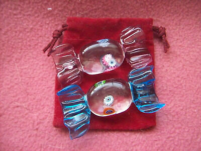 2 Vintage Murano Glass Sweets Wedding Party Candy Decorations Gift With Red Sack