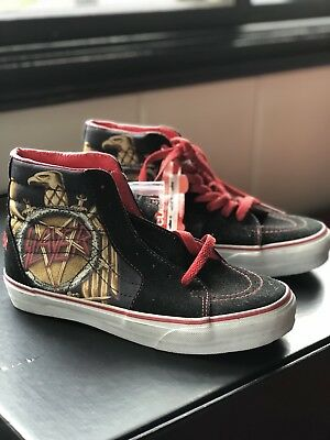 Vans x SLAYER eagle with pentagram Sk8 Hi tennis skate shoes Men 5.5 Women 7 4b3d197b4