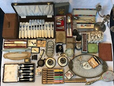 HOUSE CLEARANCE FIND - A Huge Job Lot Of Vintage Items Inc Boxes Cutlery Etc