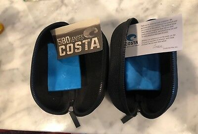 Lot of 2 - Costa Del Mar Sunglass Black Hard Zipper Protection Case *CASE ONLY*