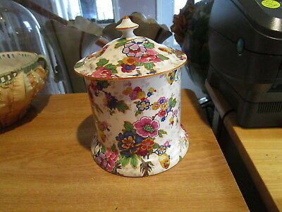 CROWN DUCAL Festival Tobacco Jar - Chintz, Oriental Lanterns, Mustard Trim